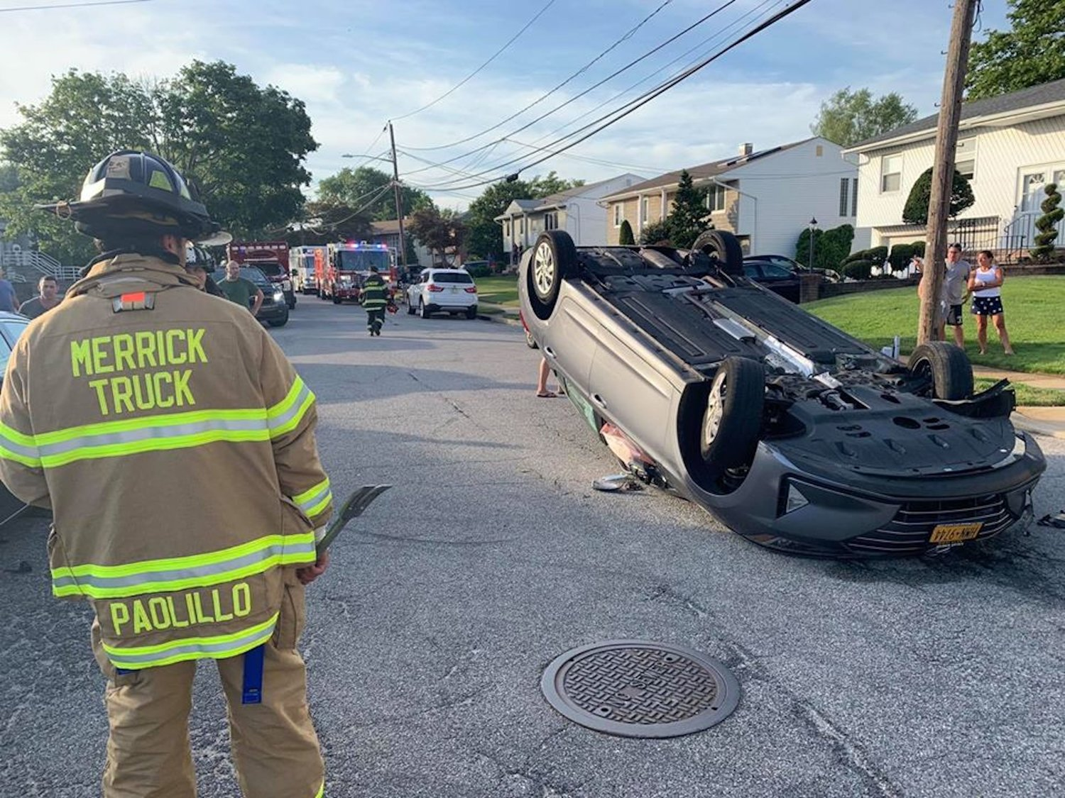 The department also responded to reports of a single overturned vehicle that occurred on a residential street in south Merrick Sunday. The driver reportedly fled the scene on foot.