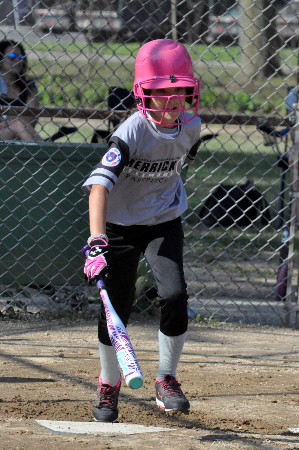 Samantha Kraemer headed towards first base after making contact in last Saturday's softball game at Merrick Road Park.