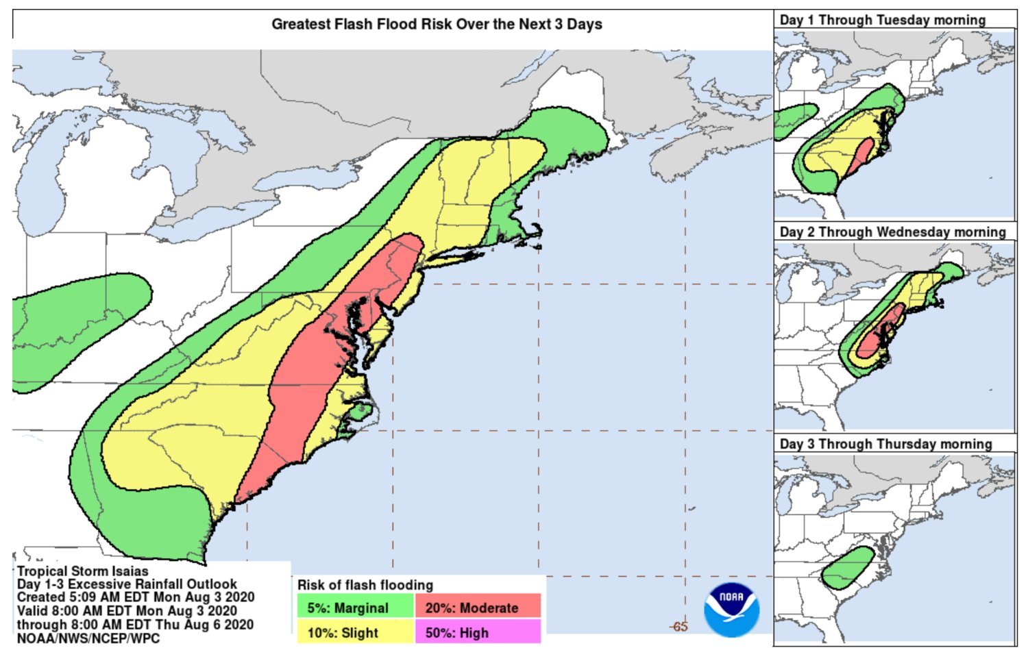 A map, posted on the National Weather Service website Monday morning, showing the potential for flash flooding throughout the Northeast during Tropical Storm Isaias.