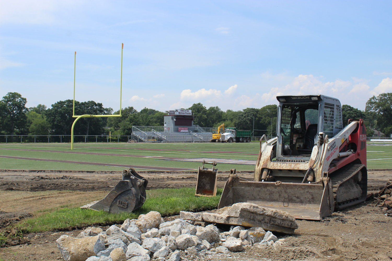 Construction at Mepham High School is ongoing and expected to be completed in early September.