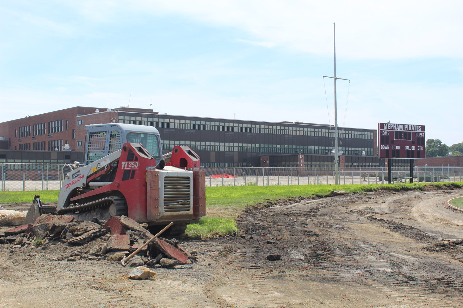 Mepham is having a brand new track installed around the high school football field.