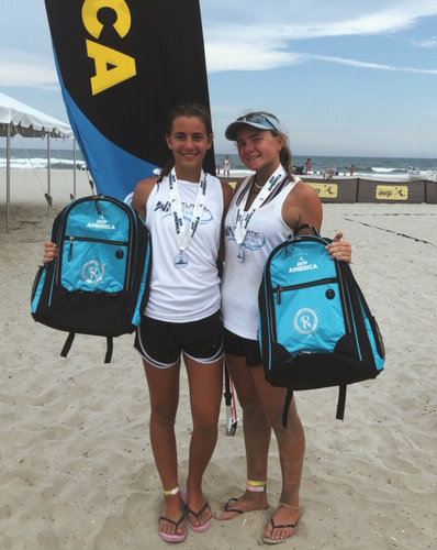Calhoun's Ella Maldonado, right, teamed with Reece Bernard of Kings Park to earn silver at the AVP Beach Junior Nationals in Atlantic City, held July 28-30.
