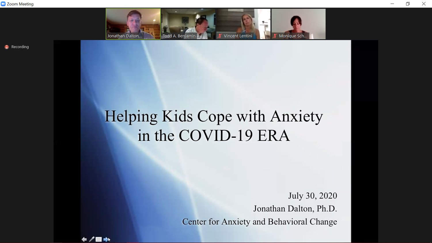 The North Merrick School District hosted a webinar on July 30 with guest Dr. Jonathan Dalton, who shared tips with parents to help their kids cope with anxiety.