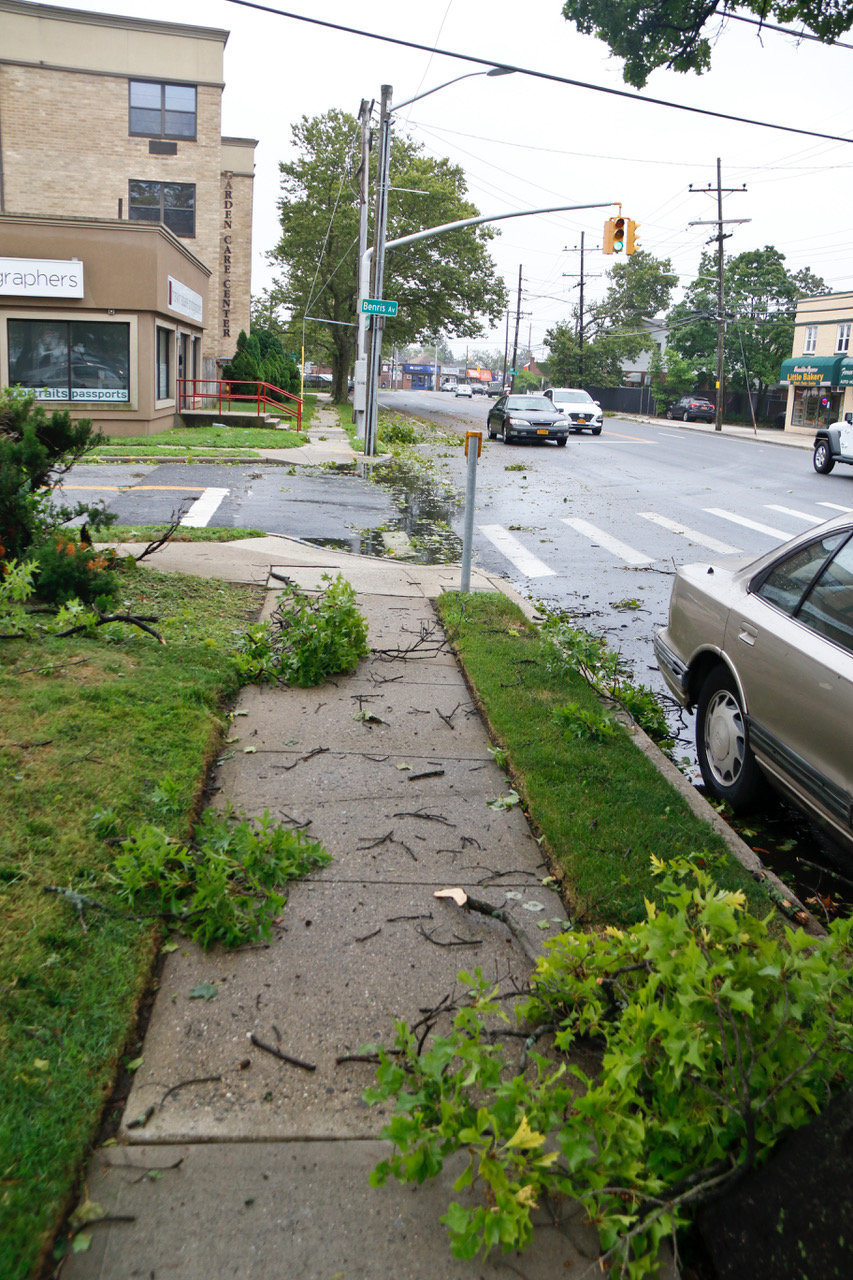Tree limbs and branches were scattered across sidewalks and roads, as was the case in Franklin Square.