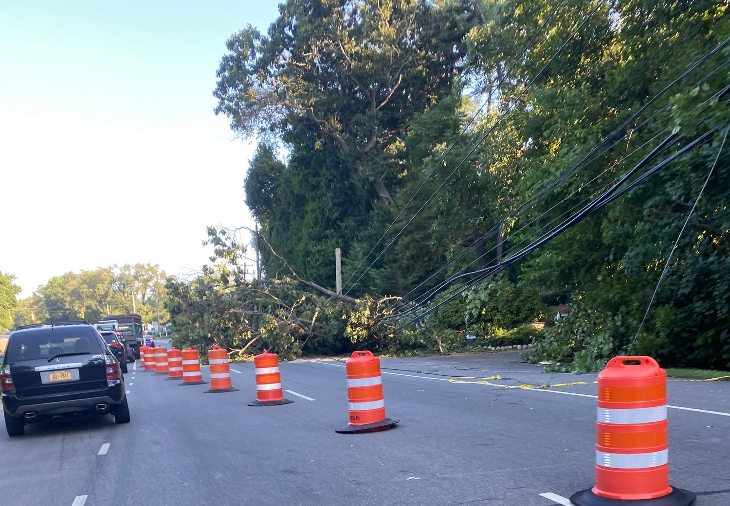 Fallen trees took out the right lane heading south on Glen Cove Avenue in Glen Head.