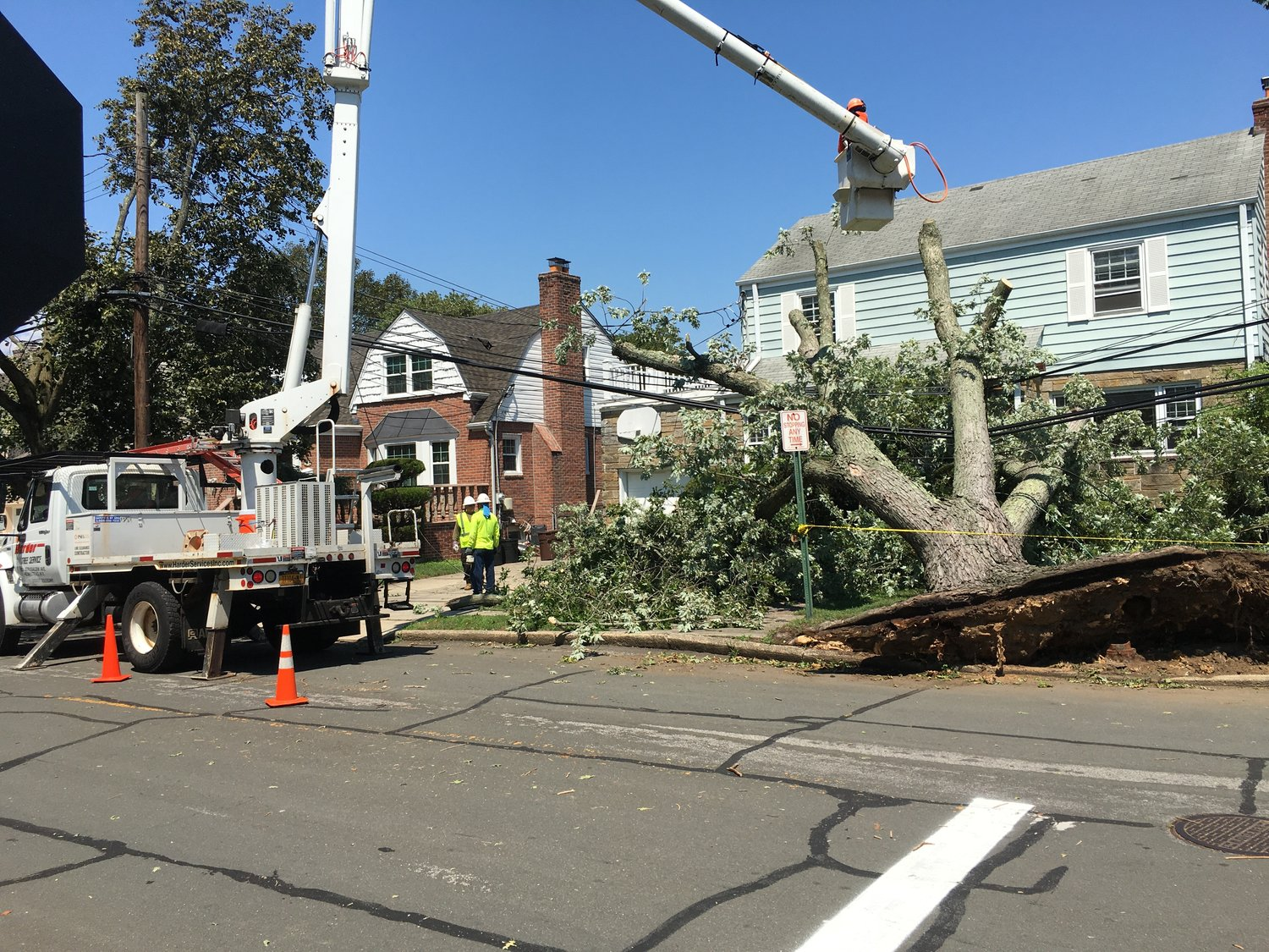 A fallen tree was cut and taken away on Peninsula Boulevard in Hewlett on Aug. 5.