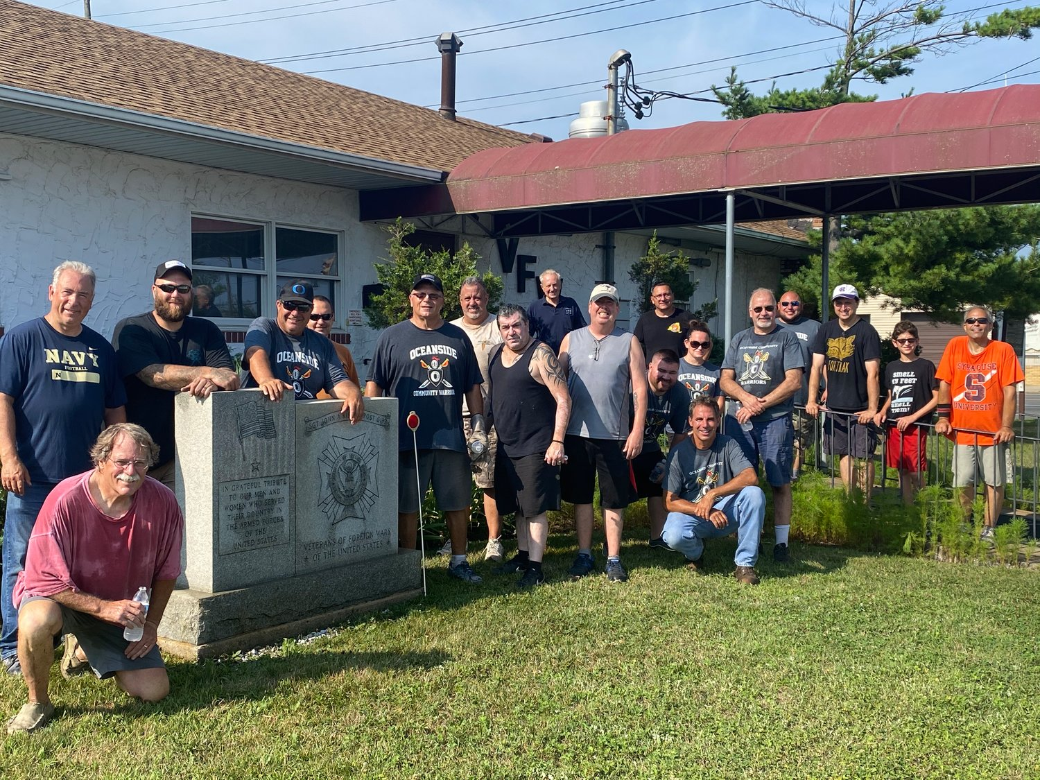 About 20 members of Oceanside Community Warriors helped clean and landscape at the Oceanside Veterans of Foreign Wars facility in late July.