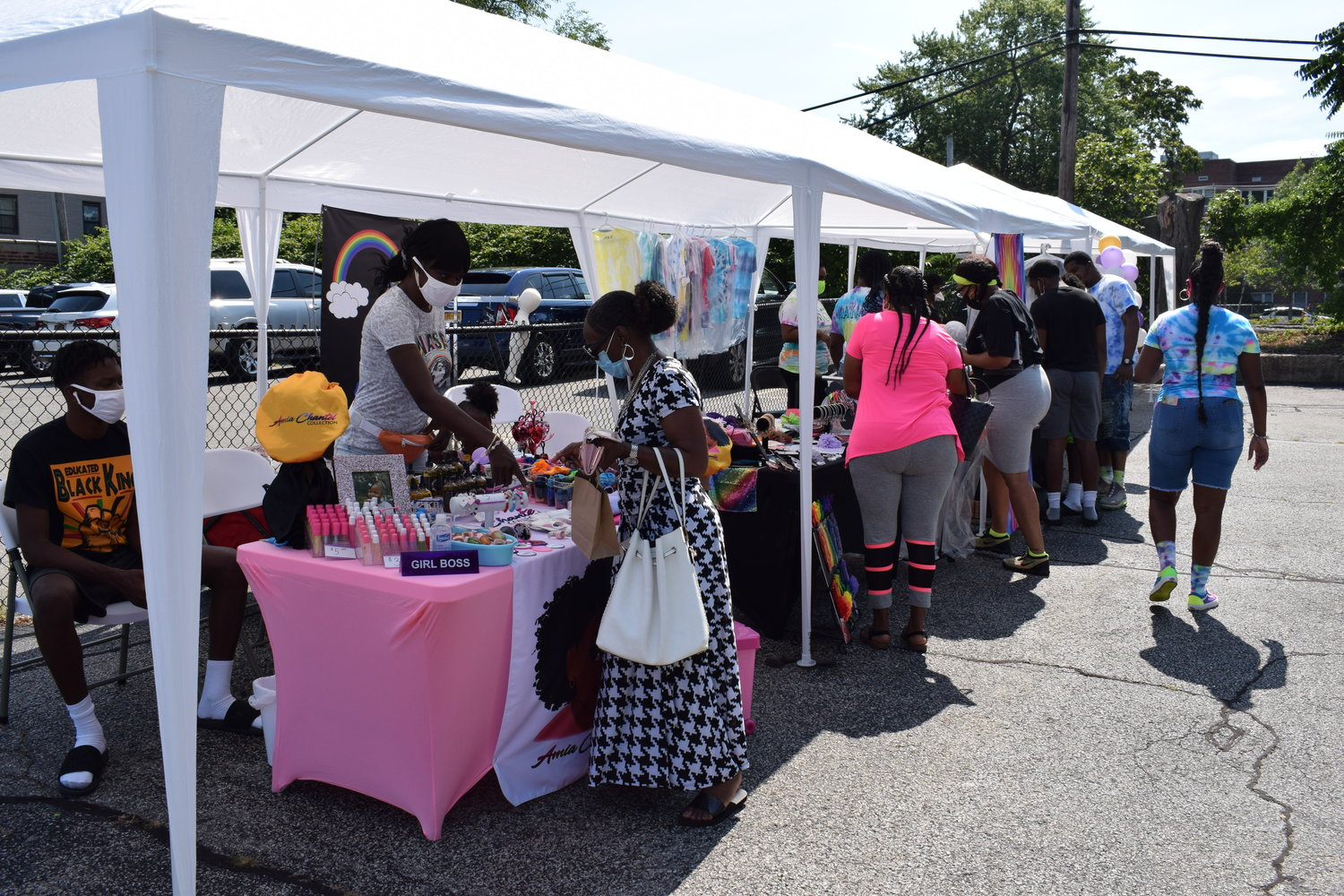 Dozens of customers came out to support the young vendors.