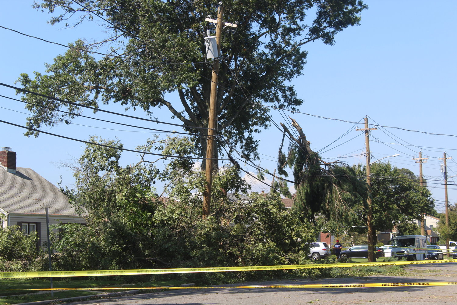 A tree fell into a power line near the Wesley United Methodist Church, blocking off part of Fenworth Boulevard.