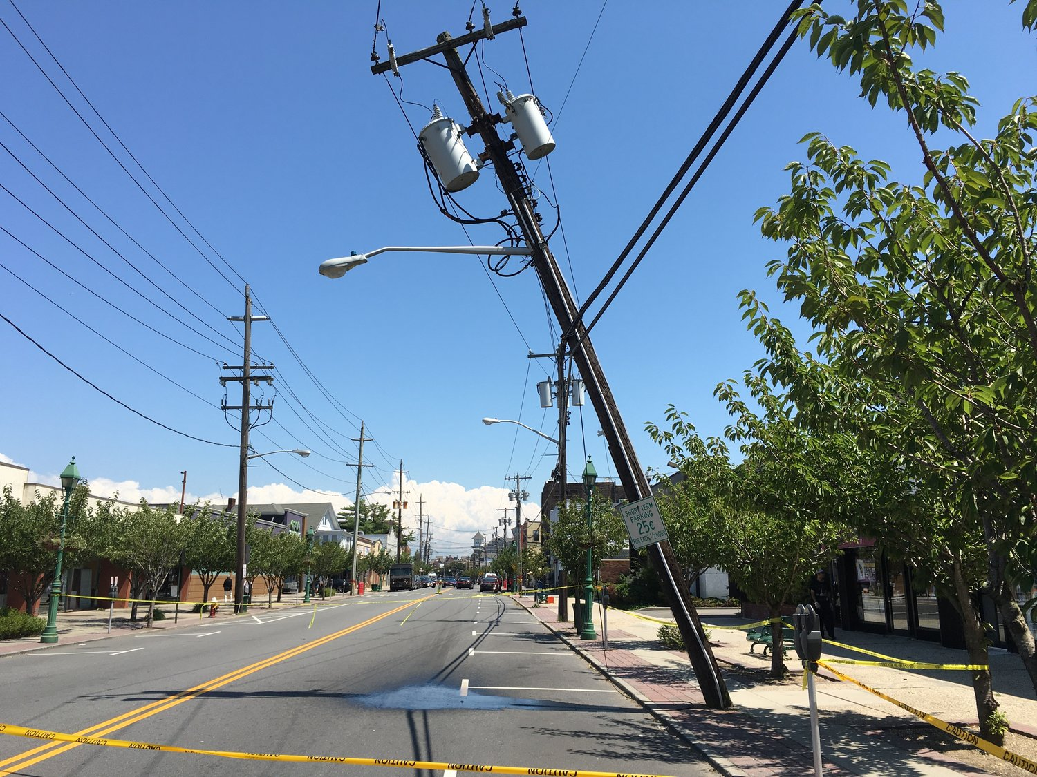 A tilted utility pole closed a portion of Central Avenue in Lawrence until it was repaired on Aug. 8.