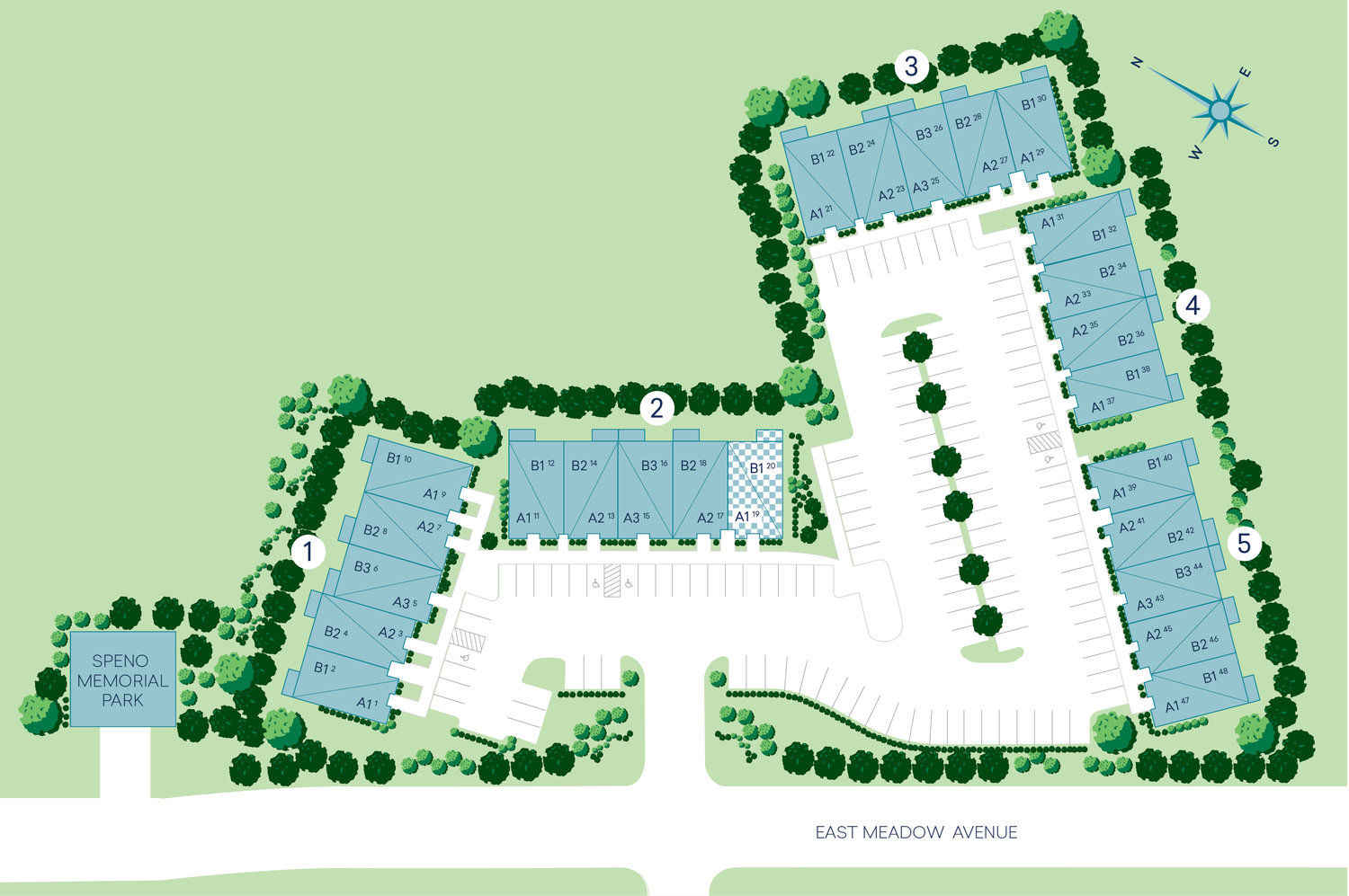 Above is a depiction of the Beechwood Homes community from overhead.