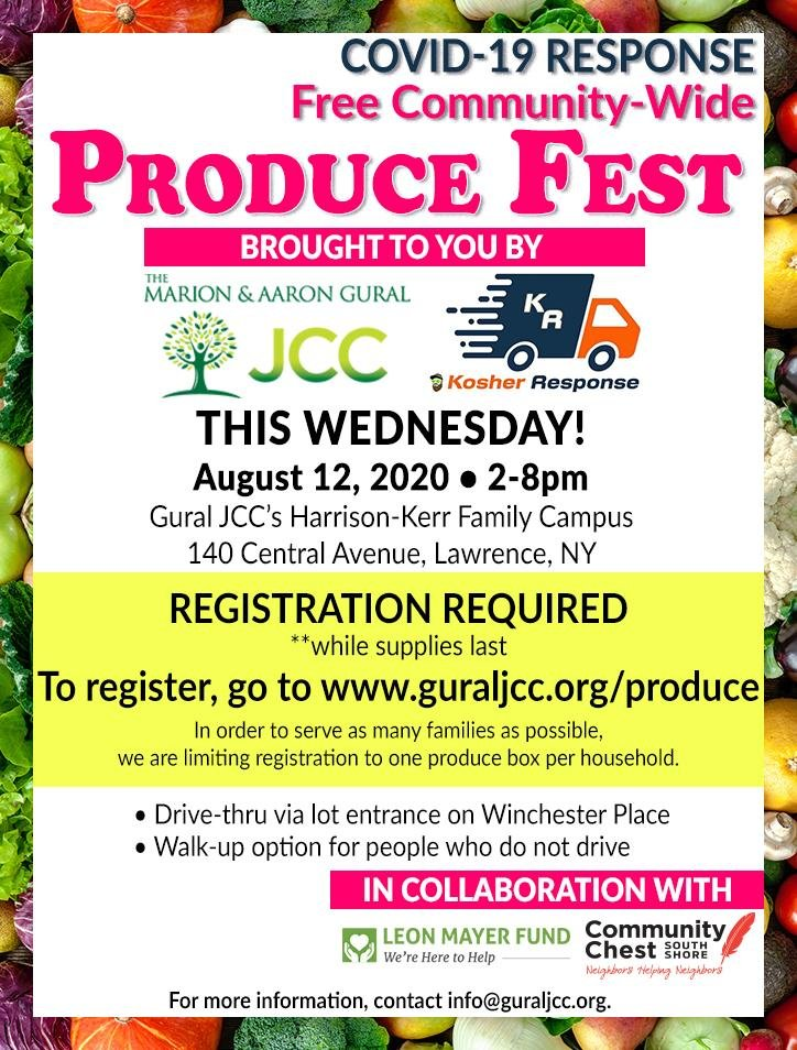 Register for the free communitywode produce fest supported by the Gural JCC, Community Chest, the Leon Mayer Fund and Kosher Response.