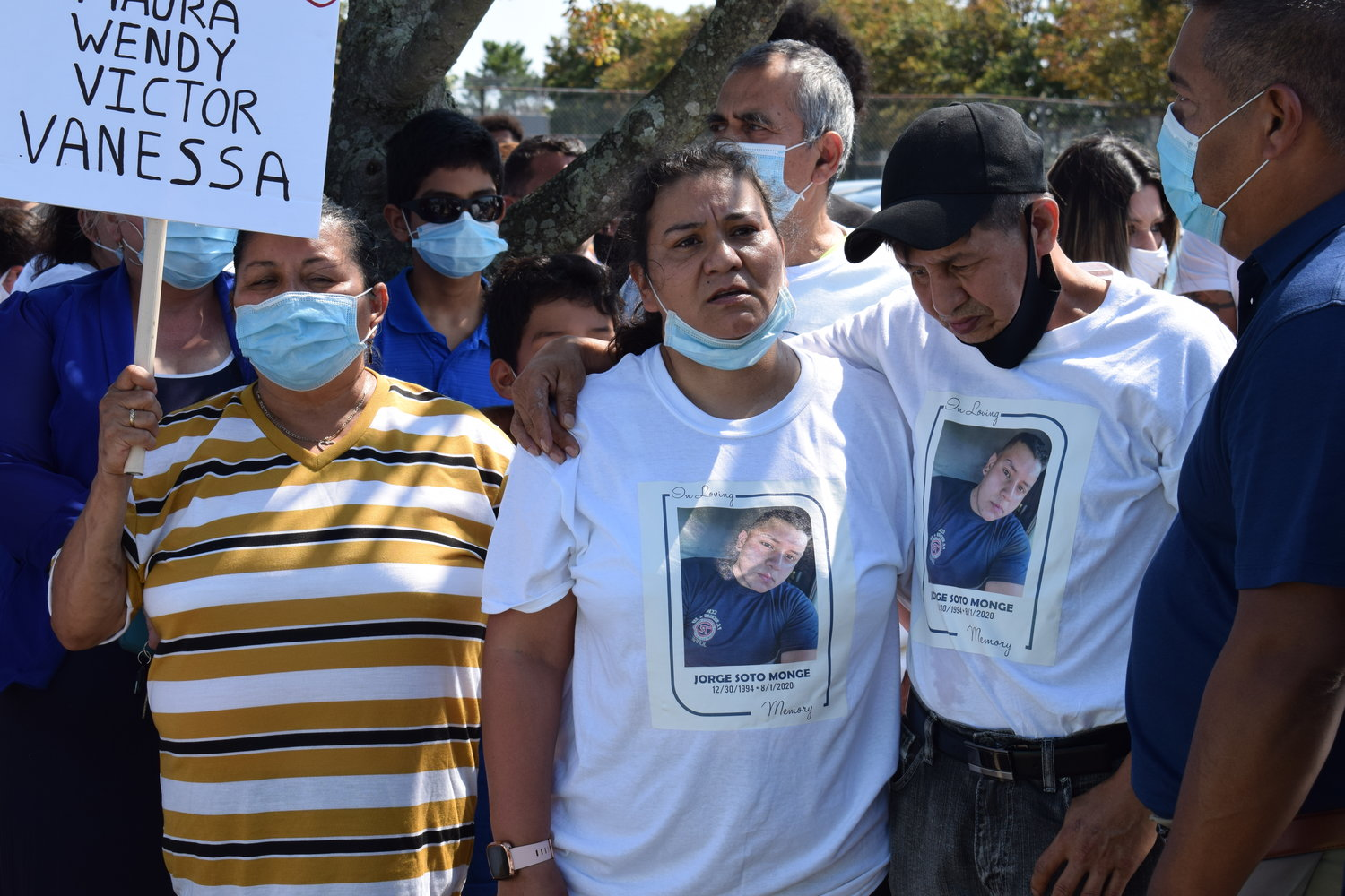 Freeporters Martha Martinez, left, and Rosa and Jose Soto Monge led a protest to demand justice for their children after a boat crash hospitalized Maura Martinez, 29, and killed Jorge Soto Monge, 25, on Aug. 1.
