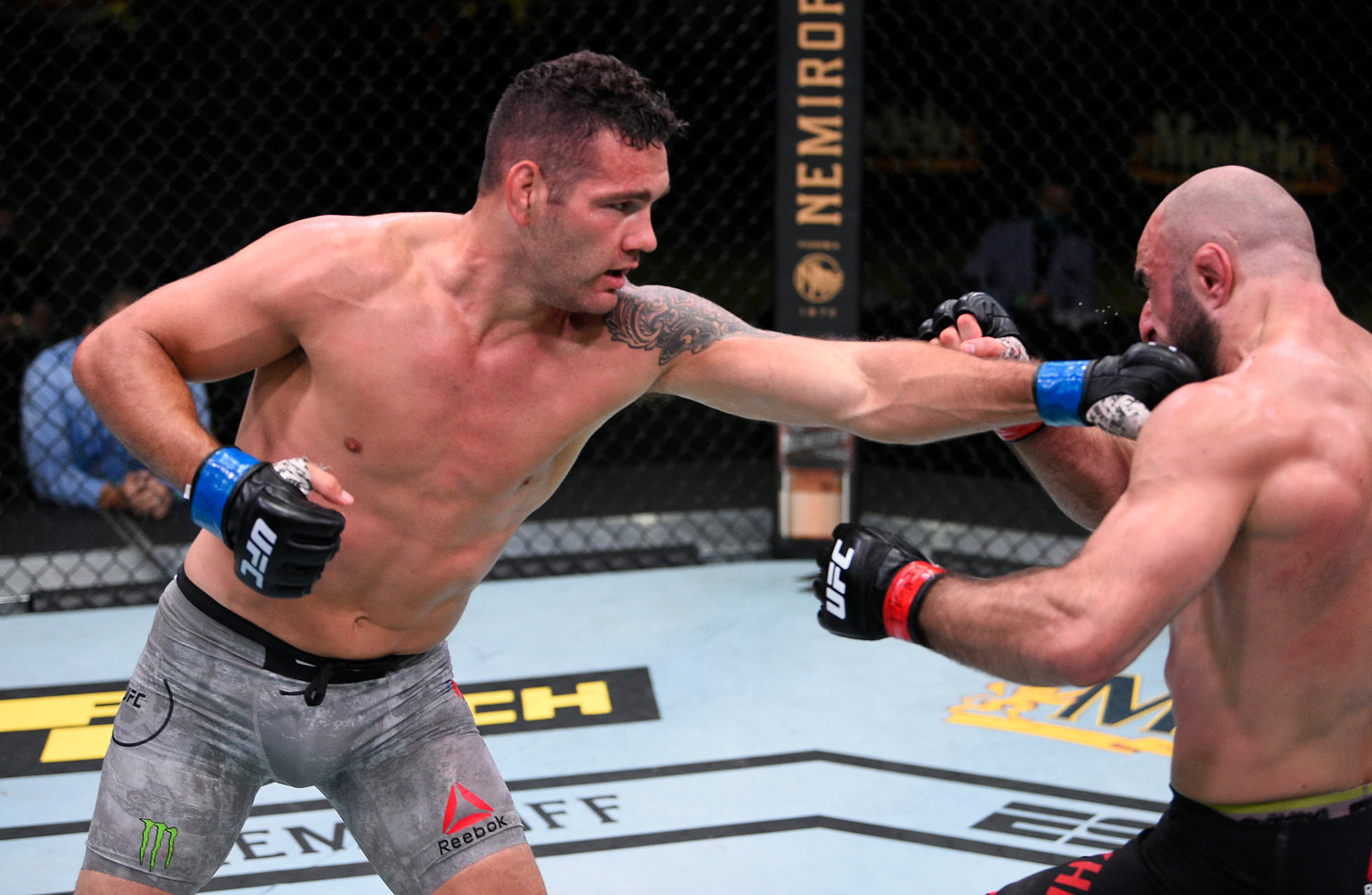 Chris Weidman, left, beat Omari Akhmedov their middleweight matchup during the UFC Fight Night event last Saturday in Las Vegas.