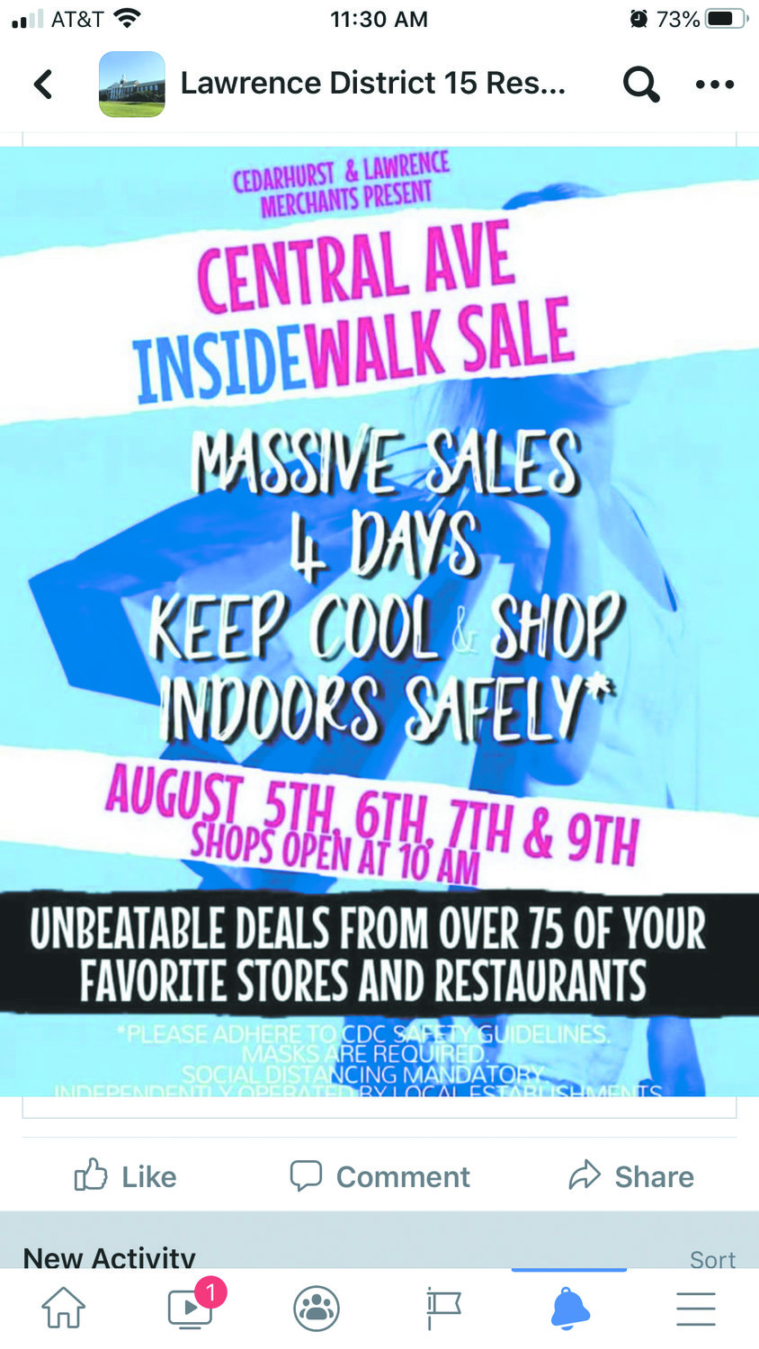 The Cedarhurst Business Improvement District substituted the InsideWalk Sale for the annual Summer Sidewalk Sale because of the coronavirus pandemic.