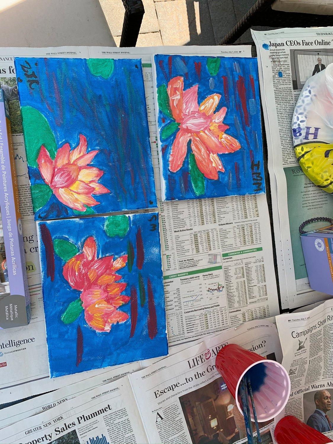Artwork created by the children at Mia Gwitrzman's backyard art camp.