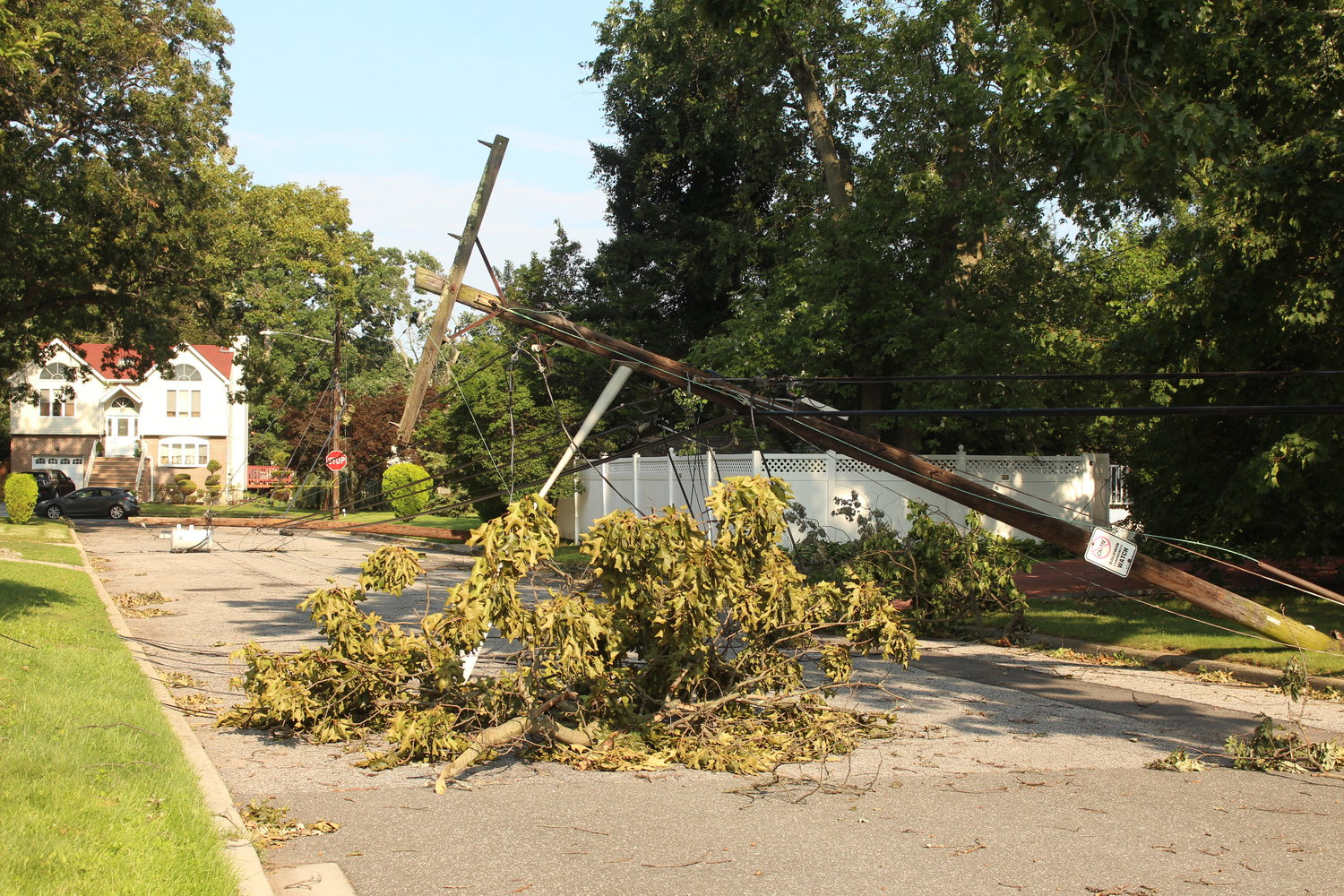 On Alexander Place in Baldwin, a large tree took down power lines and a transformer, leaving the homeowners on the block without power or hot water and low-hanging wires on their lawns and houses.