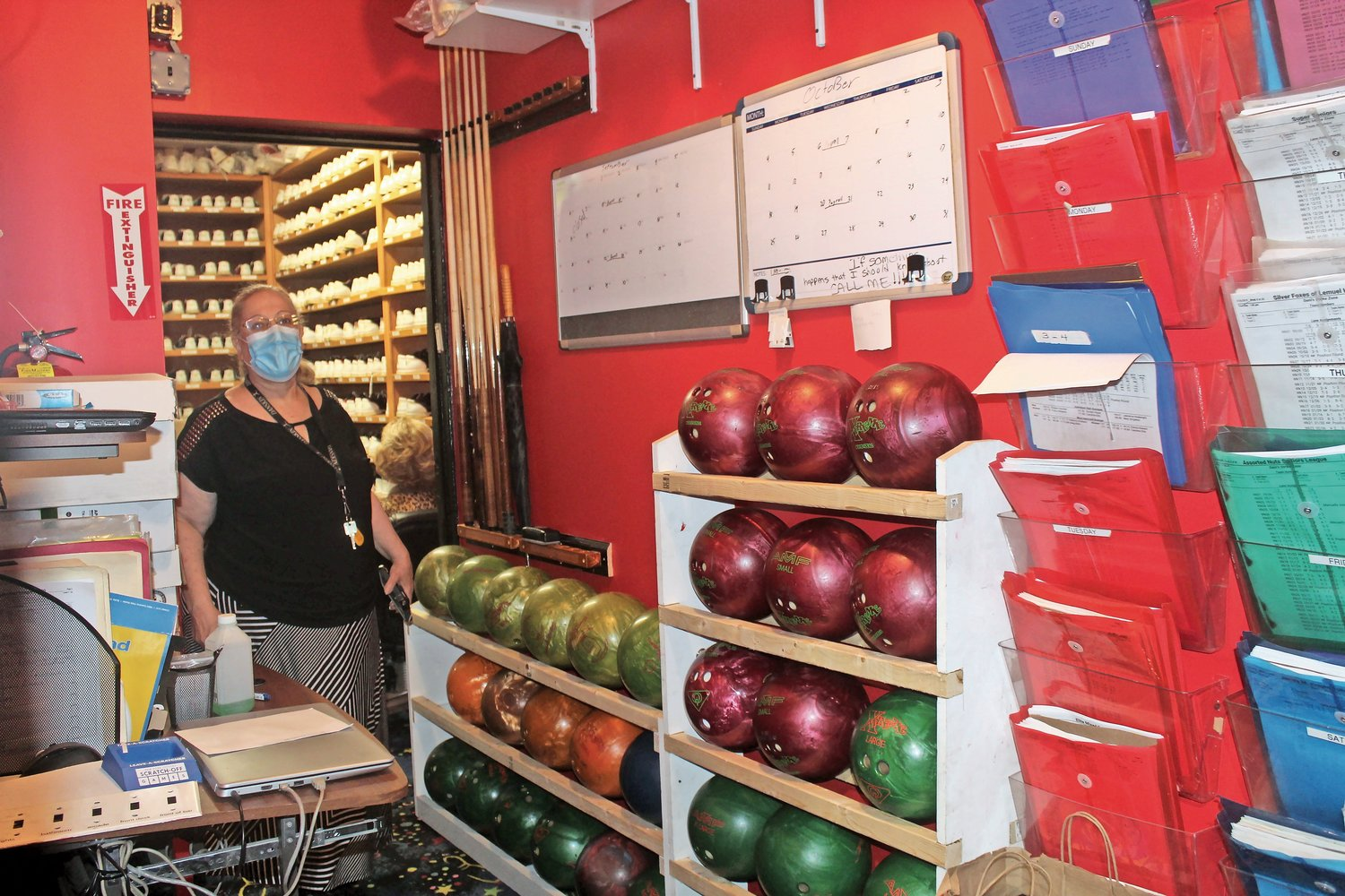 Horowitz keeps all of the bowling balls in a back room.