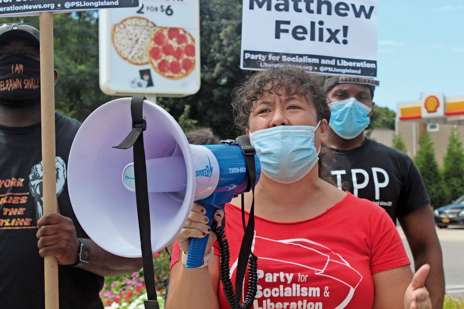 Rachel Hu, organizer of the Party for Socialism and Liberation on Long Island spoke at the rally.