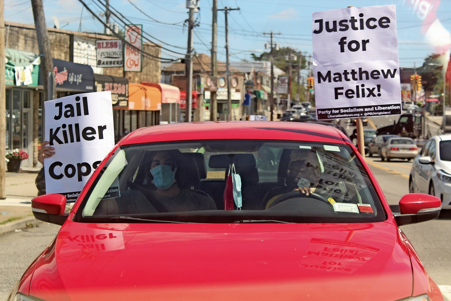 rotestors drove from Elmont to Cambria Heights to raise awareness of Felix's case.