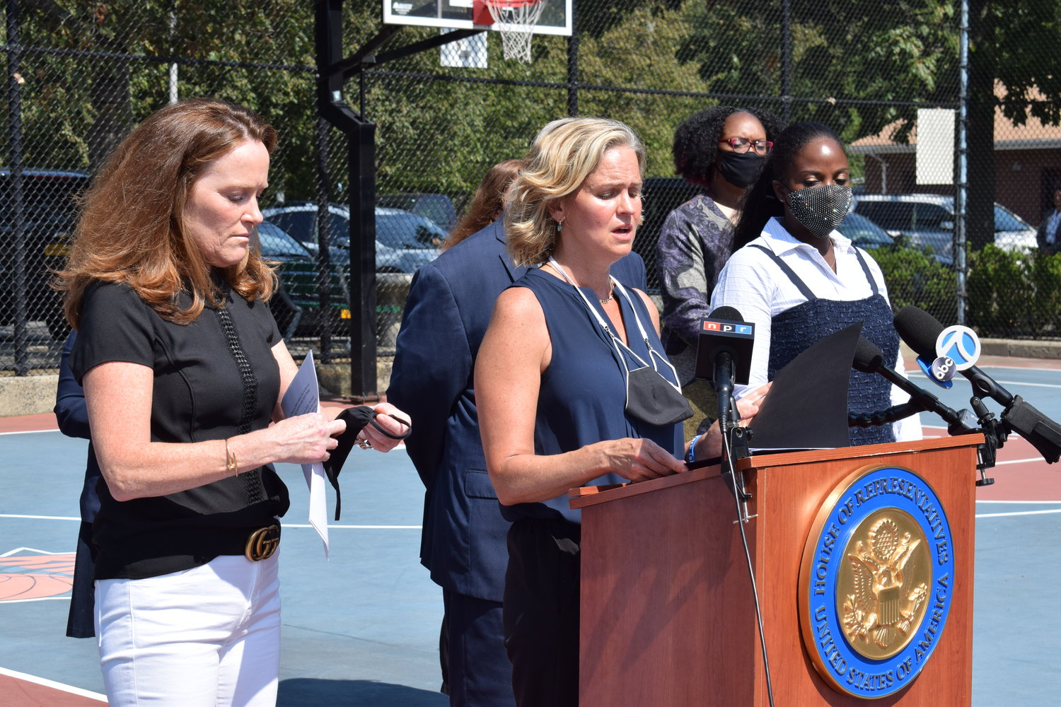 U.S. Rep. Kathleen Rice, left, joined Nassau County Executive Laura Curran, center, State Assemblywoman Taylor Darling and others to urge everyone to complete the 2020 census by Sept. 30.