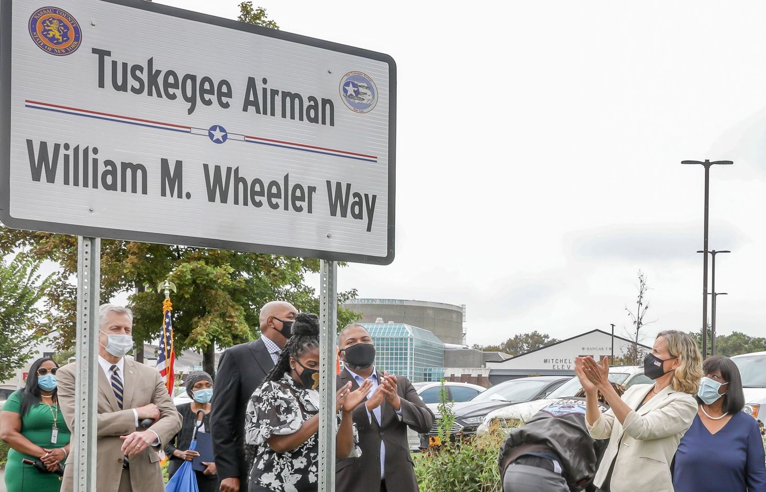 Nassau County Executive Laura Curran, second from right, recently joined other county, New York State and Town of Hempstead officials to rename a section of Charles Lindbergh Boulevard in Uniondale as William Wheeler Way in honor of the Tuskegee Airman. Photo courtesy of Nassau County