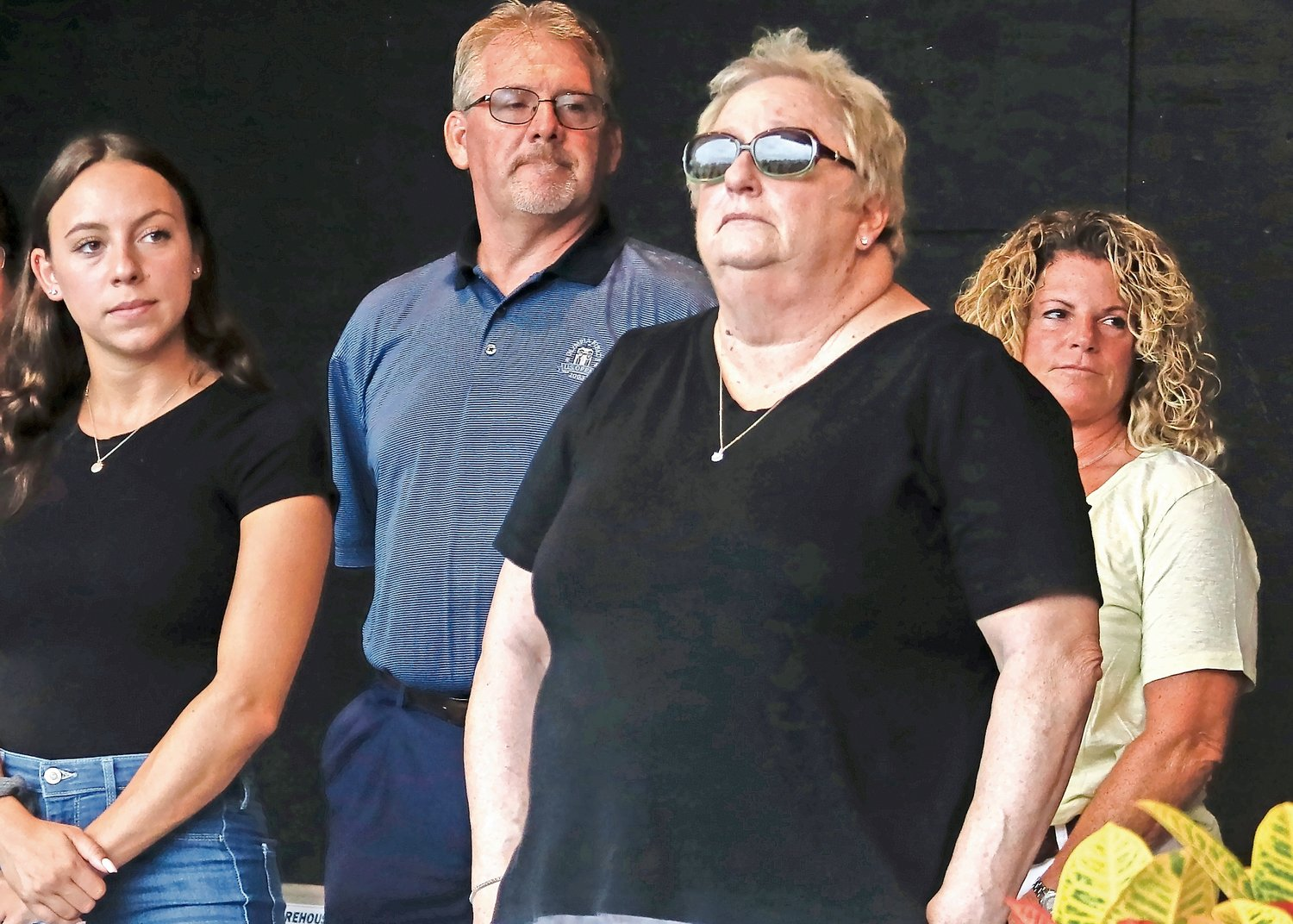 Victoria DeVito, from left, Greg Hoffman, Diane Fairben and Geri Ainbinder were also among the readers at Nassau County's socially distant 9/11 remebrance ceremony last Friday. Each lost family.