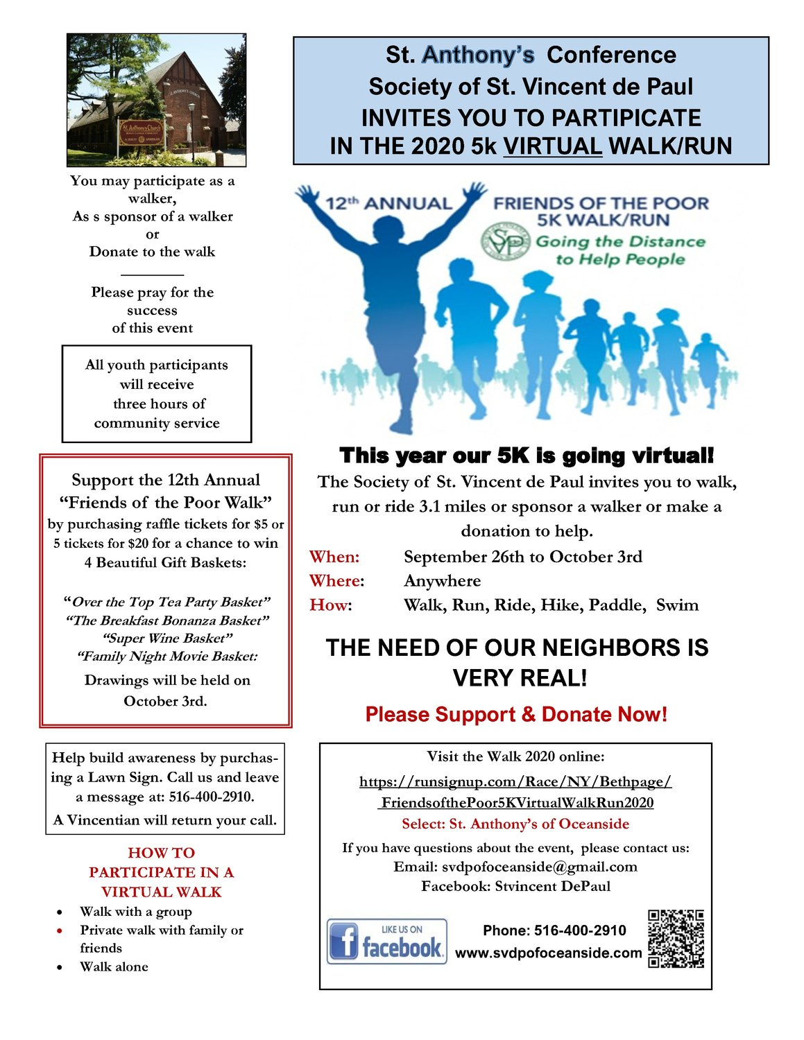 Scan the QR code in the bottom right corner of this flyer to register for the 5K.