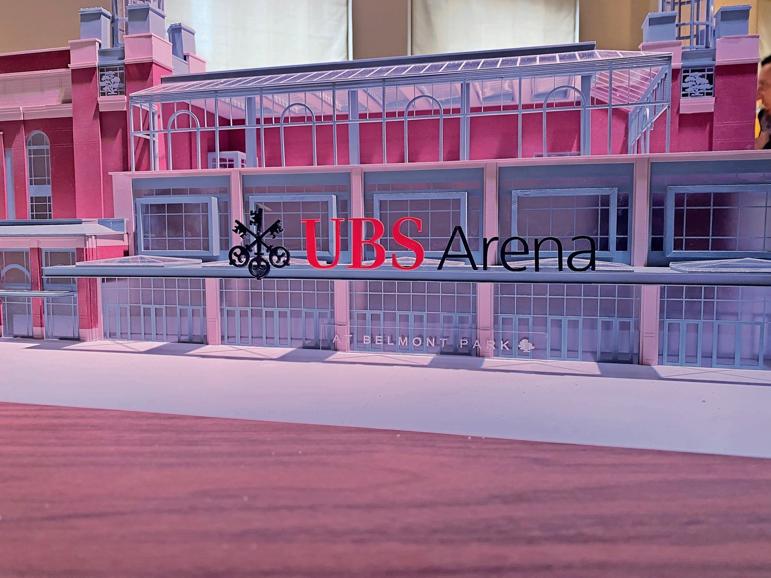 A model of the new UBS Arena, slated to open next fall.
