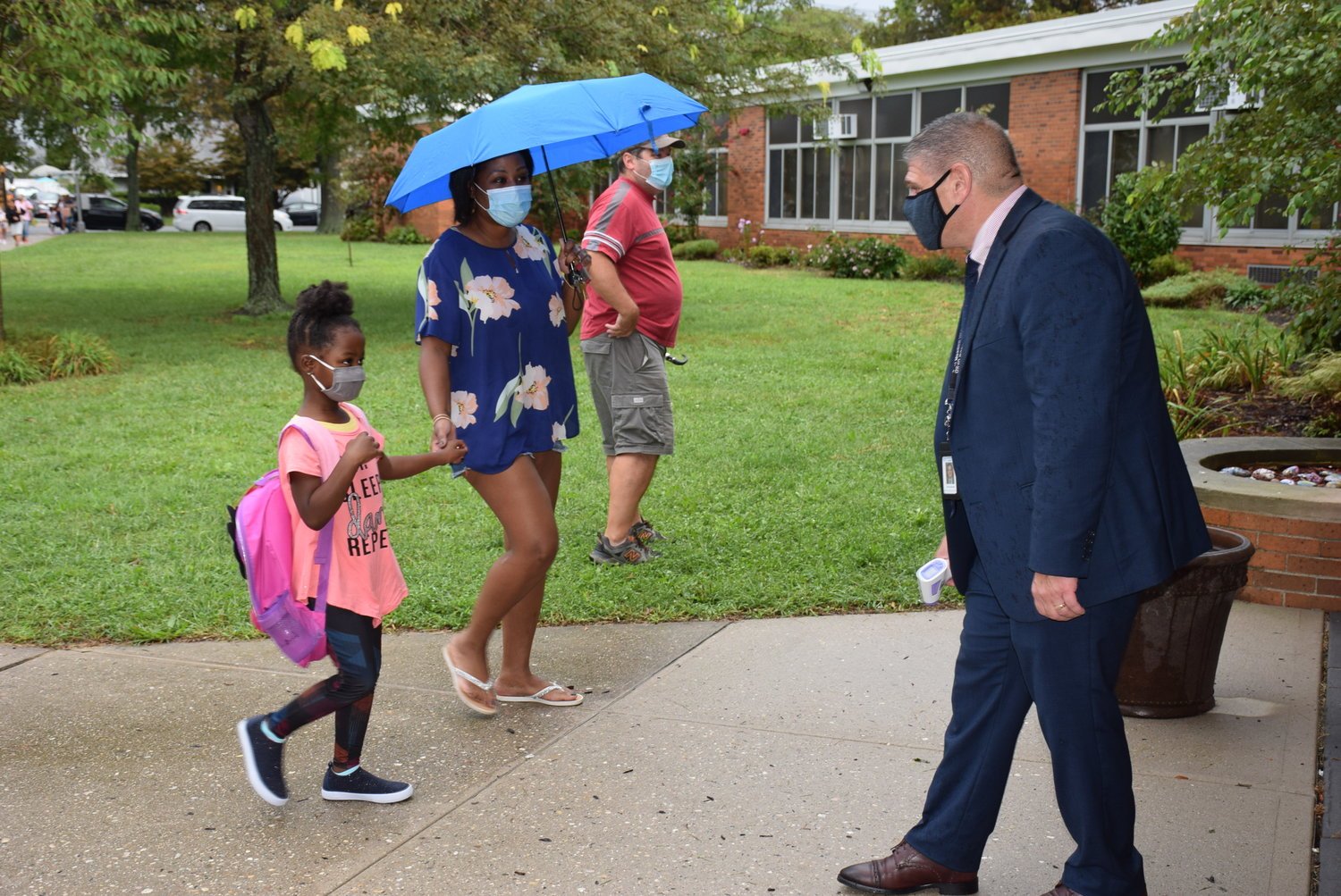 Dave Casamento, the assistant superintendent of curriculum and instruction, welcomed students to Bowling Green Elementary School in the East Meadow School District on Sept. 10.