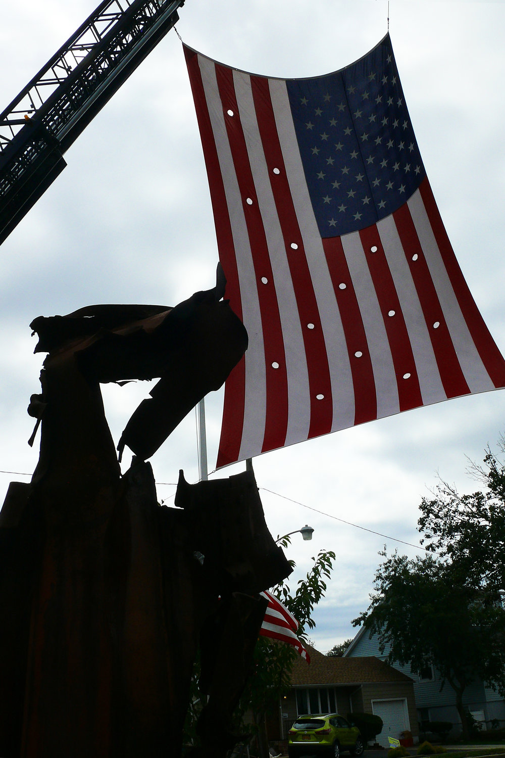 The Island Park Fire Department displayed an American flag in remembrance of those lost.