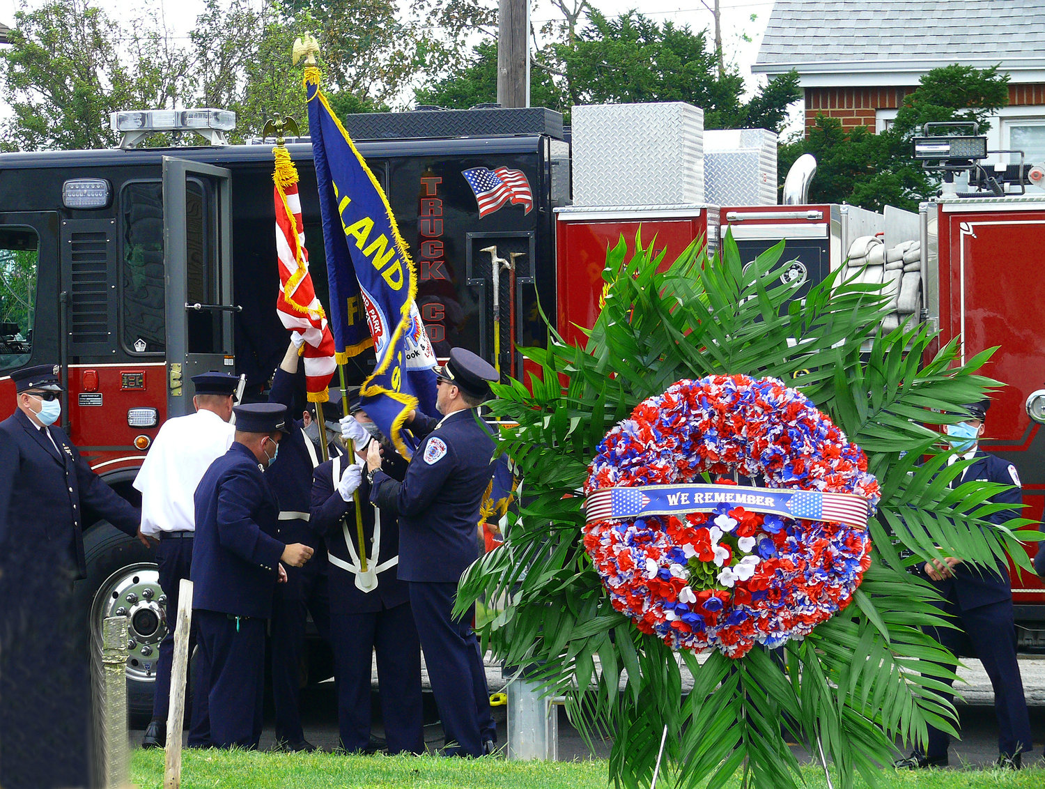 A wreath was placed in remembrance during Island Park's ceremony commemorating 9/11.