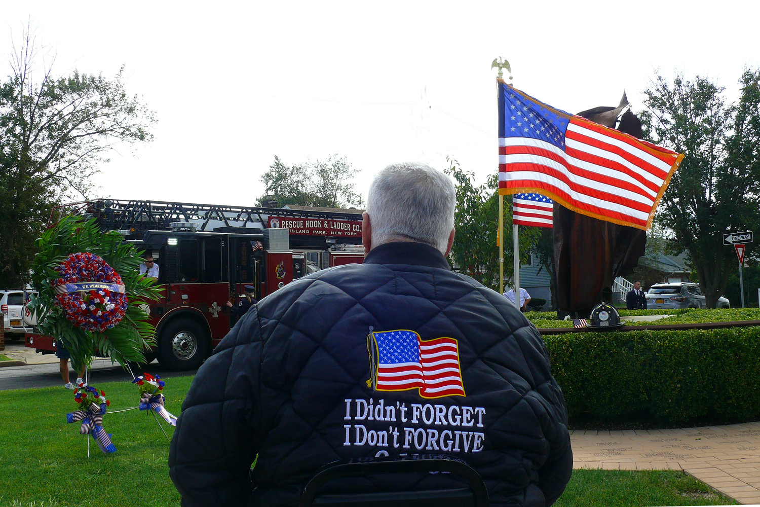 Island Park resident Todd Gleason operated a crane near the World Trade Center on Sept. 11, 2001. He stayed at ground zero for 28 days operating a crane and tried to find survivors. His jacket encouraged others to never forget what happened that day.