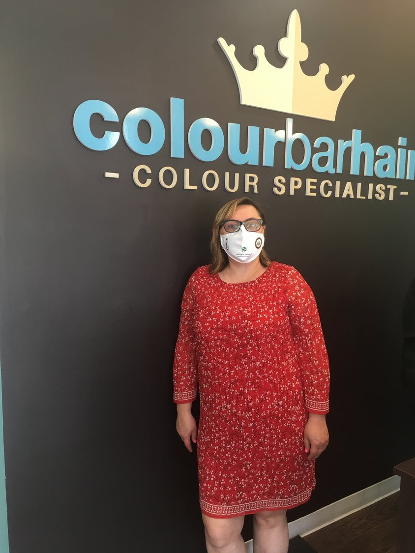 Izabela Saboski, owner of Colour Bar Hair in Rockville Centre, has started a mask donation drive and fundraiser for the Rockville Centre Police Department.