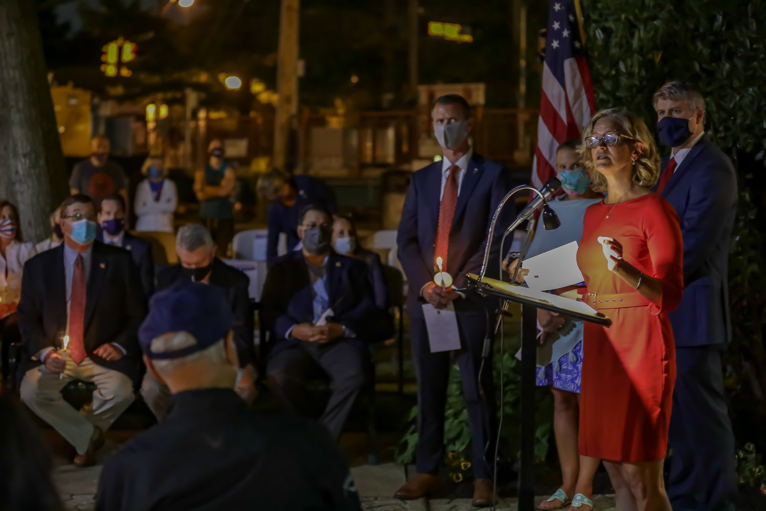County Executive Laura Curran, at lectern, was one of several elected officials to attend Malverne's 9/11 ceremony on Church Street last Friday.