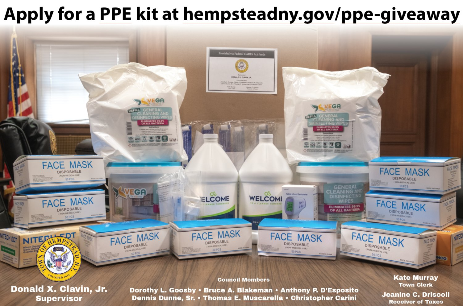 The kits include a contactless infrared digital thermometer, five face shields, eight boxes of 50 three-ply masks, 100 pairs each of powder-free and vinyl gloves, two gallons of spray-pump hand sanitizer and one canister containing 1,500 sanitizing wipes.