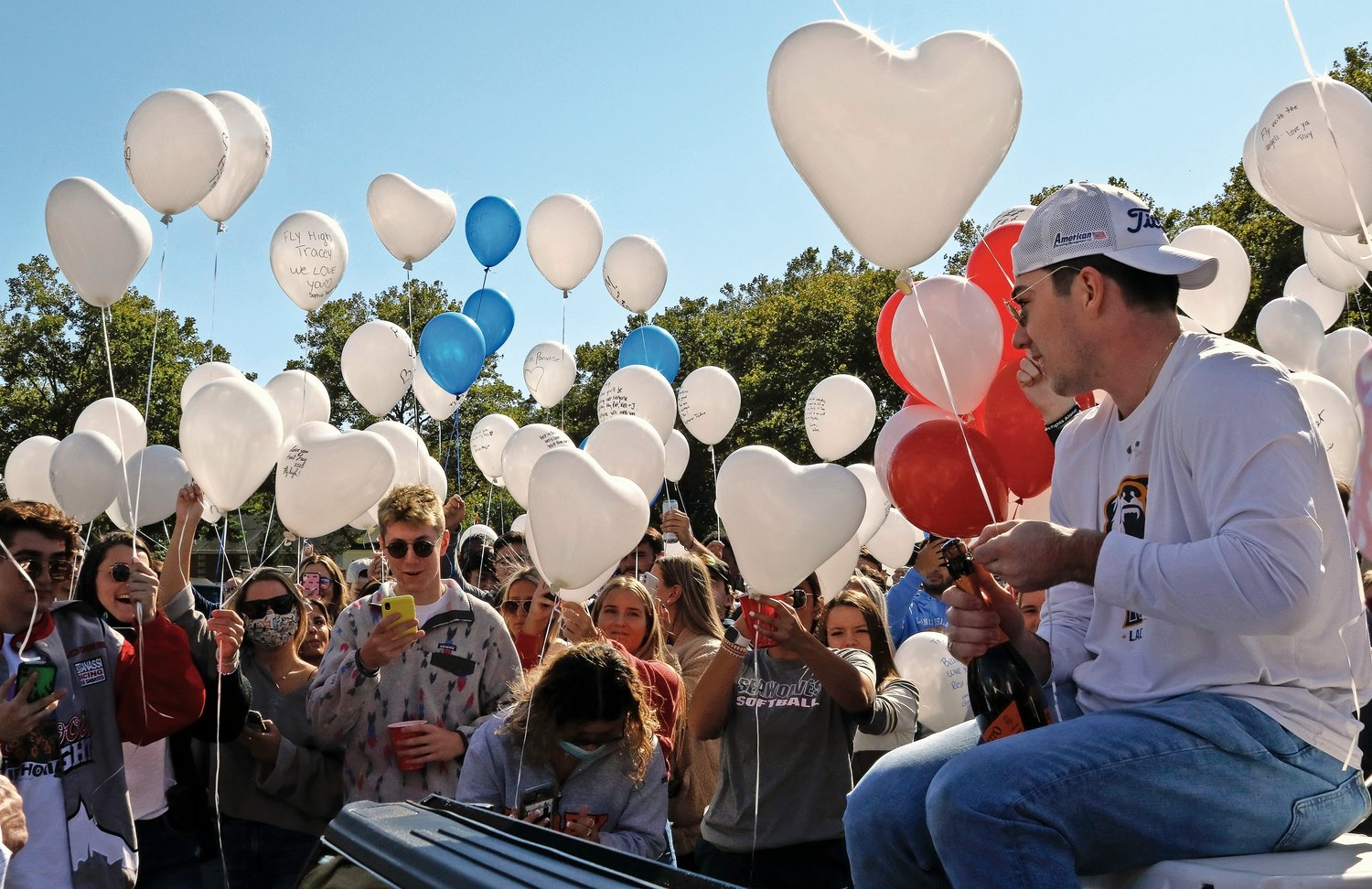 When the balloons were released last Saturday, Patrick McGrath opened a bottle of champagne and toasted his mother.