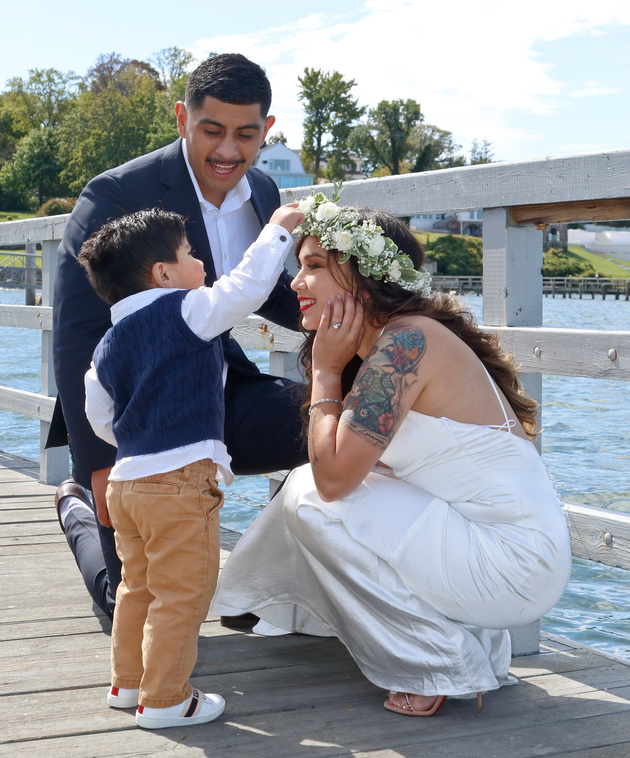 Ryan and Samantha Chavarria were with their son Alexander, 2, at their socially distanced wedding on Sept. 20.