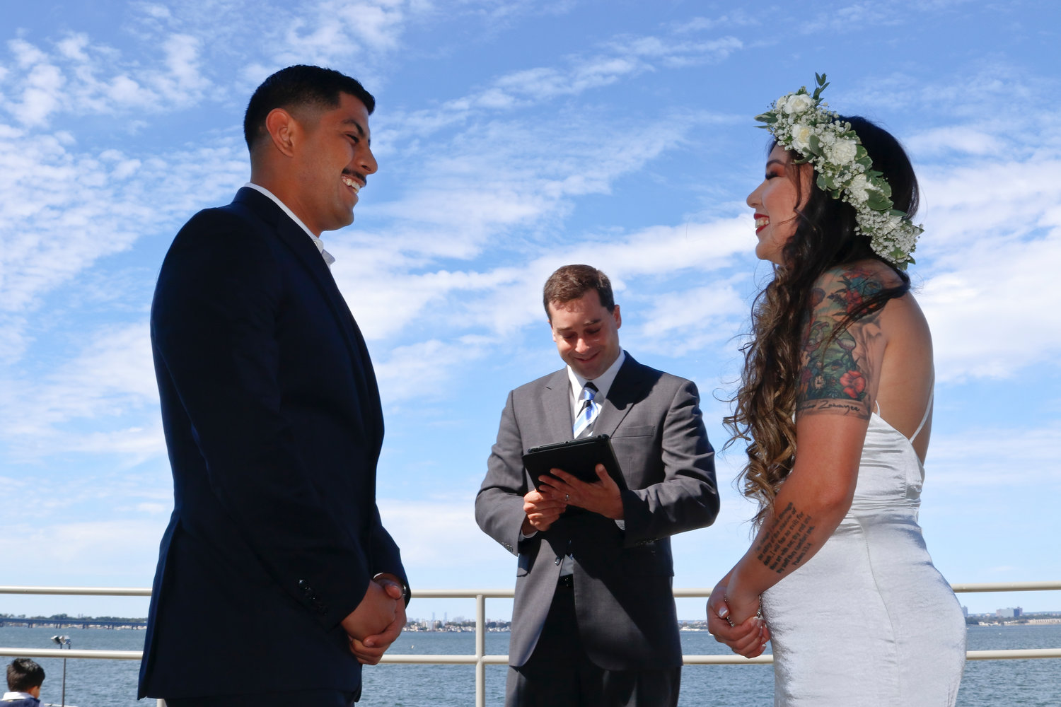 Officiating Ryan and Samantha wedding was fellow East Meadow resident Andrew Vardakis, of the U.S. Coast Guard.