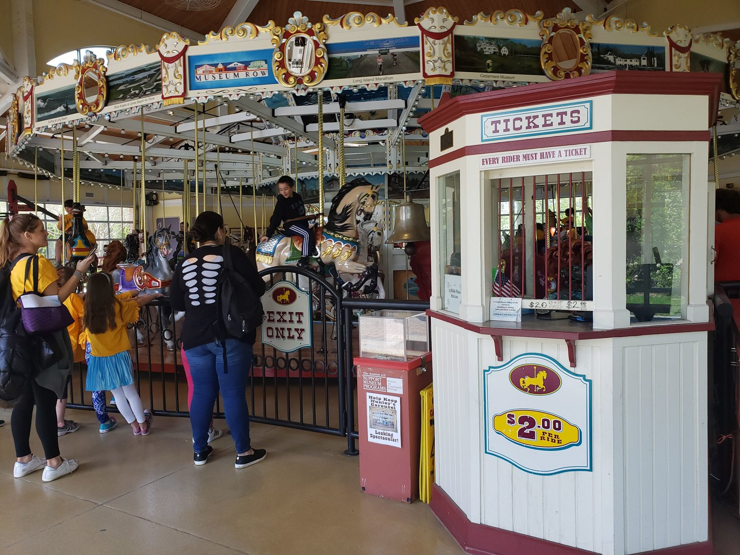 Nunley's Carousel, which could be found in Baldwin from 1940 to 1995, is now housed in the Cradle of Aviation in Garden City.  Above, the ride in action in 2019.