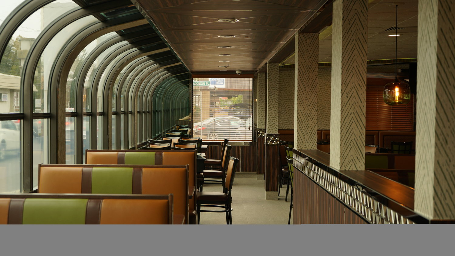 The diner's signature atrium-windowed seating area has been preserved.