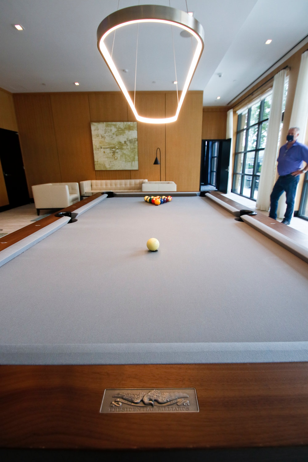 The residential complexes within Garvies Point comes with amenities, including this game room inside The Beacon.