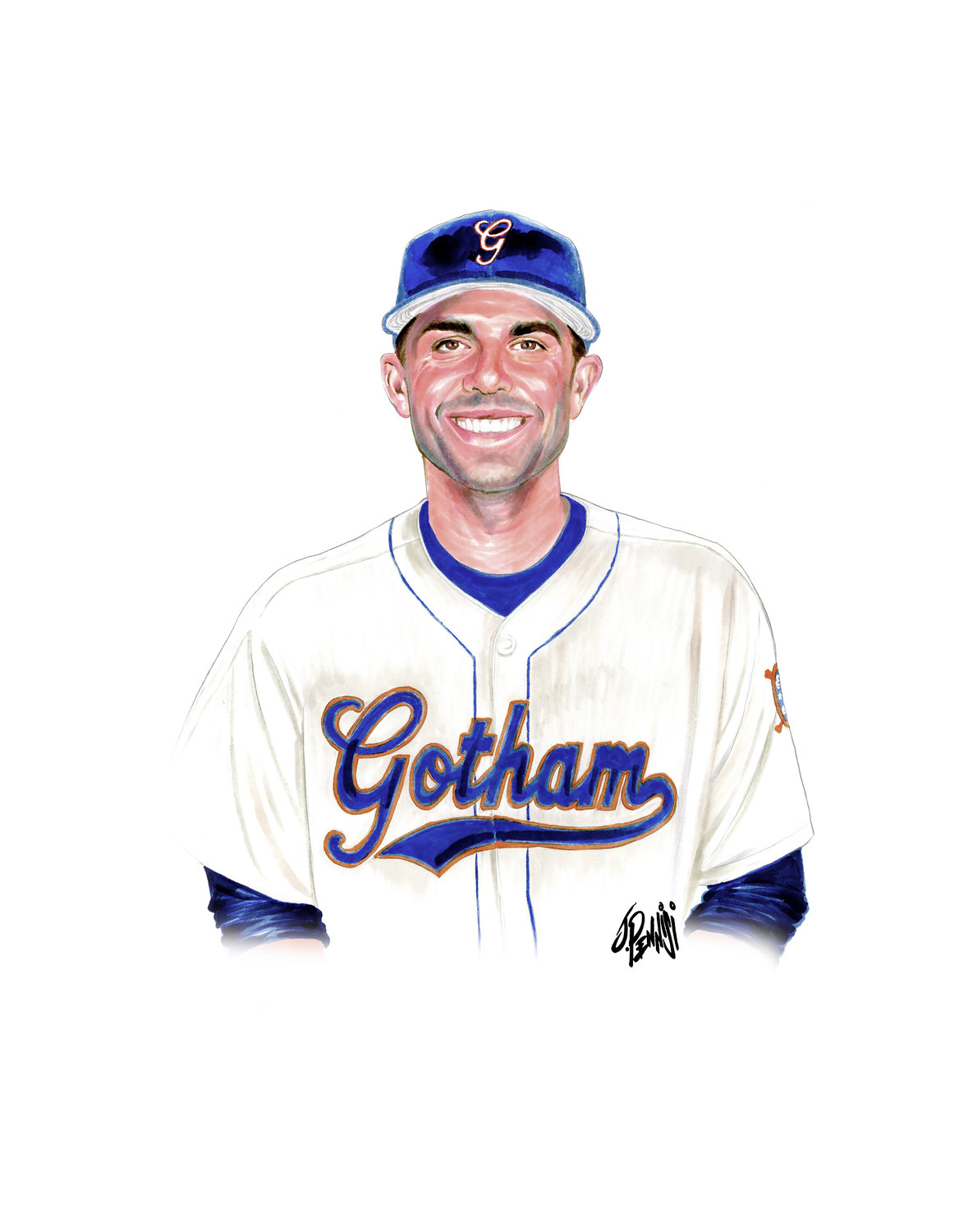 Former New York Mets third baseman David Wright was named part of New York's all-time baseball team in the book. The uniform was designed by Todd Radom, and John Pennisi illustrated Wright and other players.