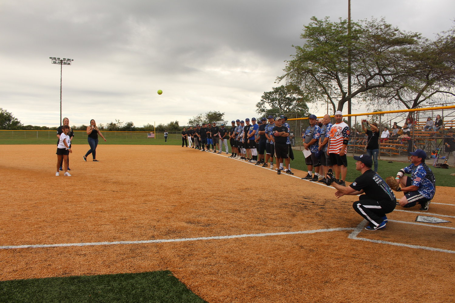 Mila Geraldi, daughter of the late New York City police officer Mike Geraldi, and Kristen Clifford, widow of NCPD officer Steve Clifford, threw out the ceremonial first pitches.