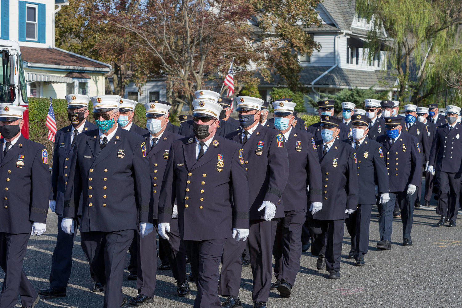 Members of the Rockville Centre Fire Department marched to the ceremony on Sunday.