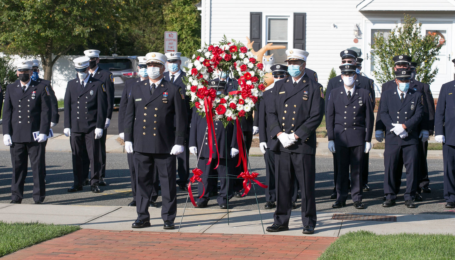 The ceremony on Sunday took place outside of the fire house.