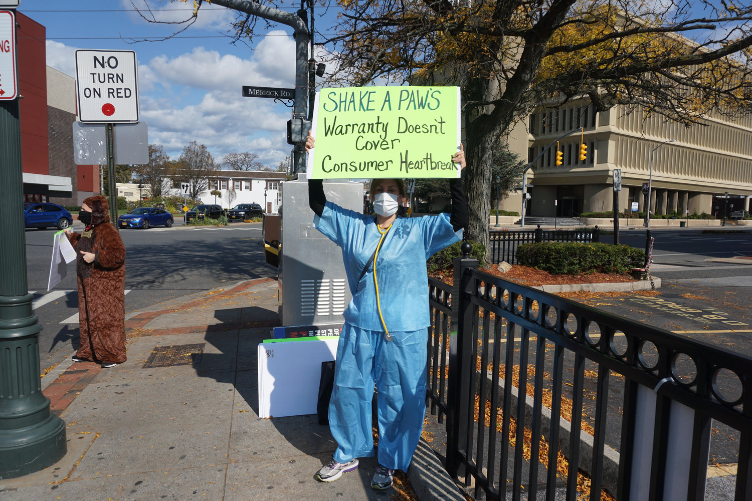 Keri Michel, who is a volunteer from Puppy Mill Long Island, helped organize the protest.