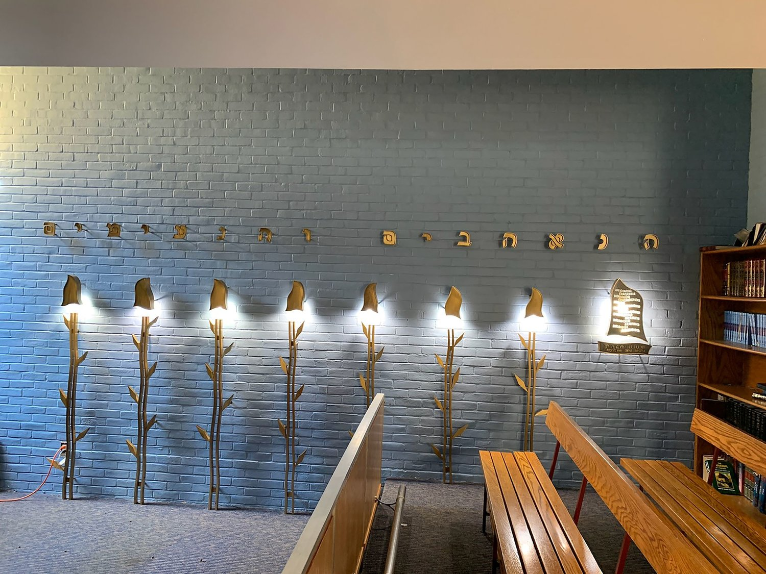 The Hillel bus accident memorial in the bais medrash (study room) at HAFTR's lower school in Lawrence. The symbolic trees represent the seven children who died.