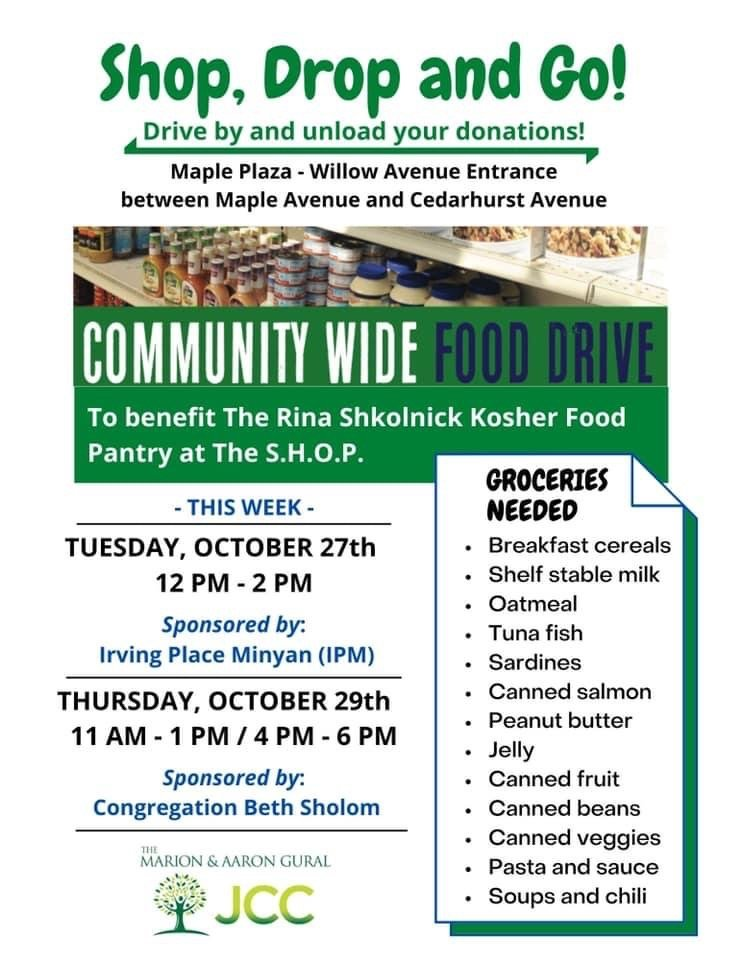 Donate food to the Gural JCC's Rina Shkolnick Kosher Food Pantry on Tuesday and Thursday.