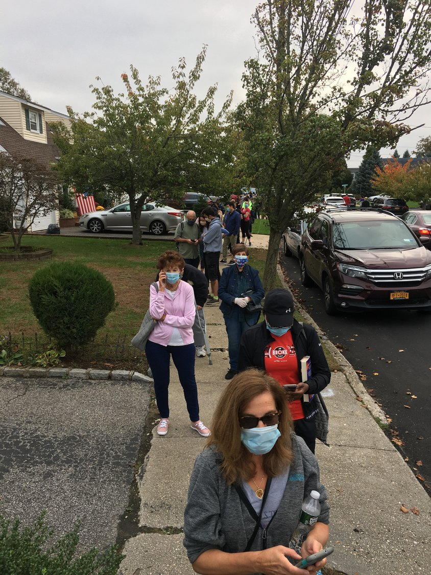 Voters were socially distant and wore masks.